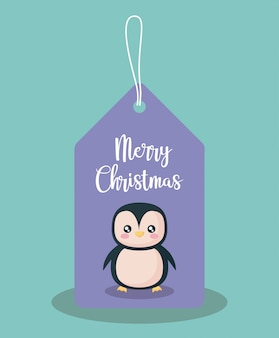 Label with penguin of christmas