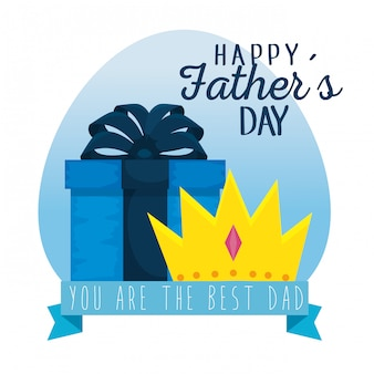Label with present and crown to fathers day