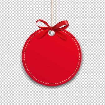 Этикетка с веревкой и красными бантами на прозрачном фоне с градиентной сеткой