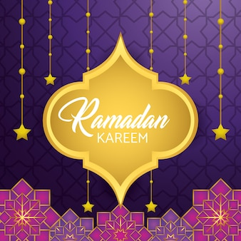 Label with stars hanging to ramadan kareem festival