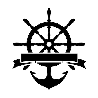 Label with steering wheel and anchor on white background