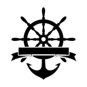 Этикетка с рулевым колесом и якорем на белом фоне