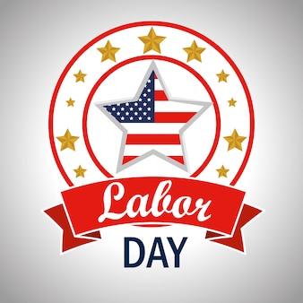 Etichetta con bandiera americana stelle alla festa del lavoro
