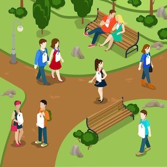 라벨링 사람들은 이름을 가십 개념이라고 부릅니다. 목에 매달려 공원 레이블에있는 사람들.