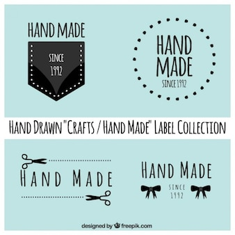 Labels about crafts on a blue background