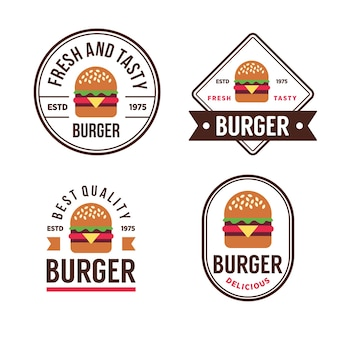 Labels and logo for burger shop.