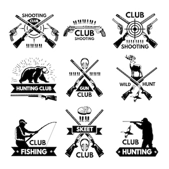 Labels and badges set for hunting club