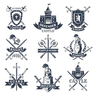Labels or badges set with pictures of medieval knights, helmets and swords