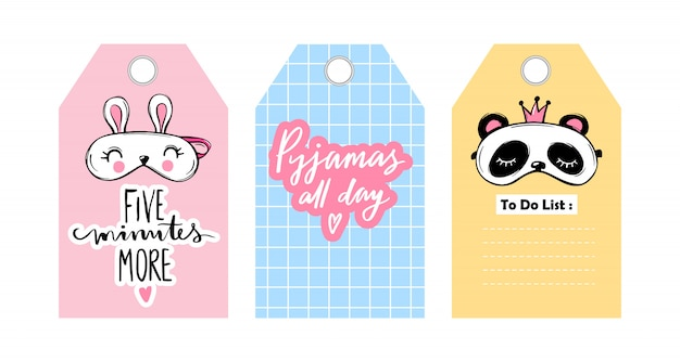 Labels, badges with eye masks and sleep lettering phrases.