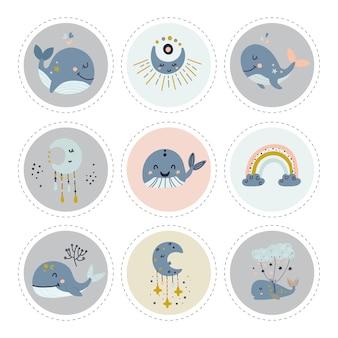 Коллекция этикеток с китами.