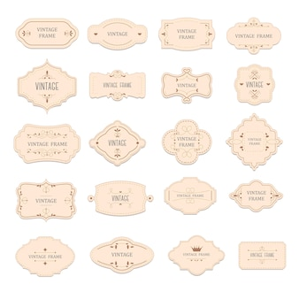 Labels and emblems, isolated vintage or retro badges or tags with inscription