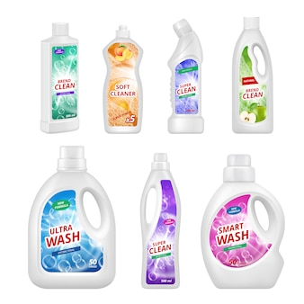 Этикетки для химических бутылок. реалистичные пластиковые бутылки для различных химических жидкостей