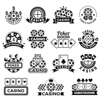 ポーカークラブゲームトーナメントシンボルギャンブルカードチップとサイコロコレクションのラベル。