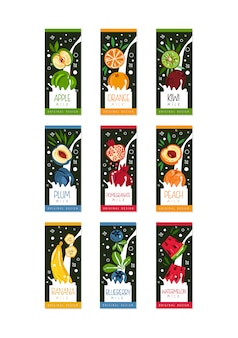 Labels for fruits milk. 9 different tastes