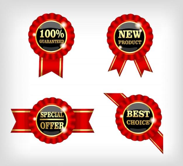 丸い赤いリボンのラベル100%保証、新製品、特別オファー、最良の選択
