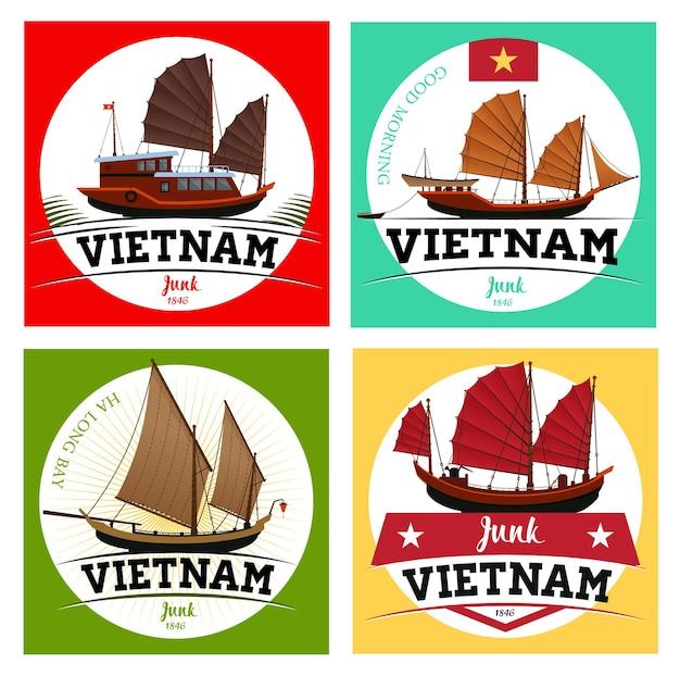 Labels of junk boat