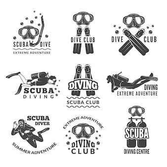 Labels or logos for diving club.