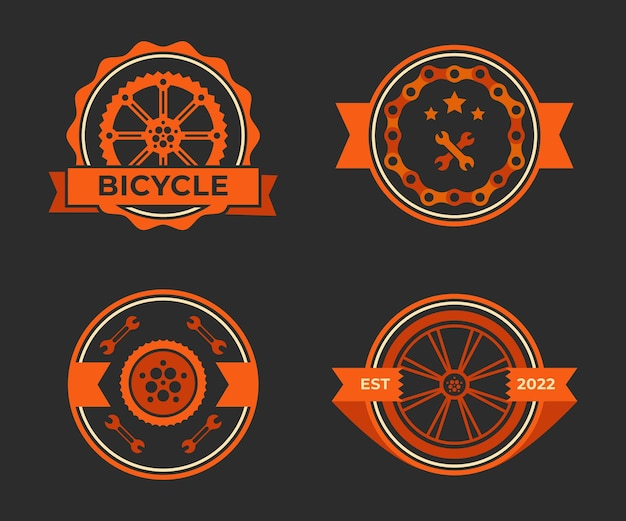 Labels set for bicycle club logos