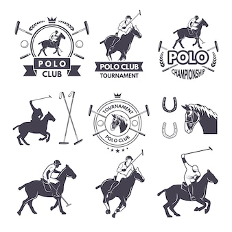 Labels set of sport competition for polo games