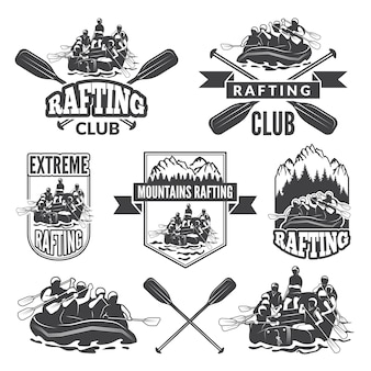 Labels for sport club of extreme dangerous water sport.