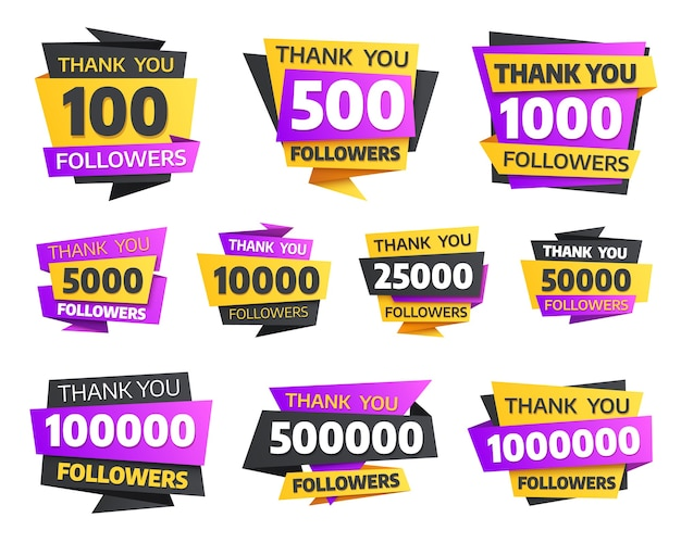 Labels or stickers for followers milestone