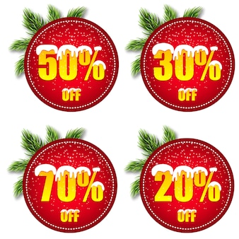 Labels, stickers or emblems with a winter sale.