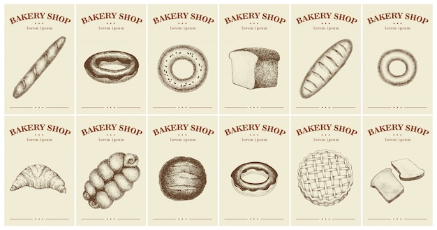 Labels with bread and pastries for bakery shop