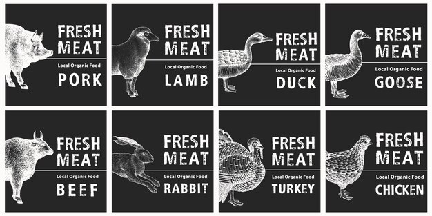 Labels with farm animals. vintage set templates price tags for shops and markets.