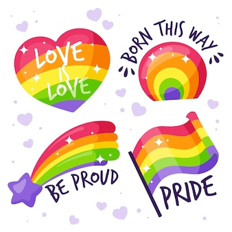 Labels with pride day event theme