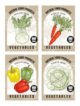 Labels with vegetables.