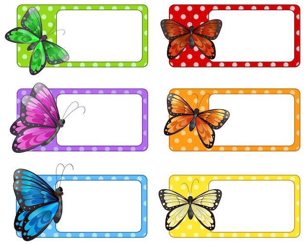 Lable design with colorful butterflies