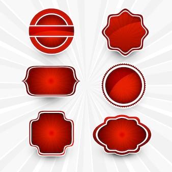 抽象的な美しい赤いlablesセットのデザイン