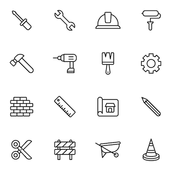 Labor and construction icon pack, outline icon style