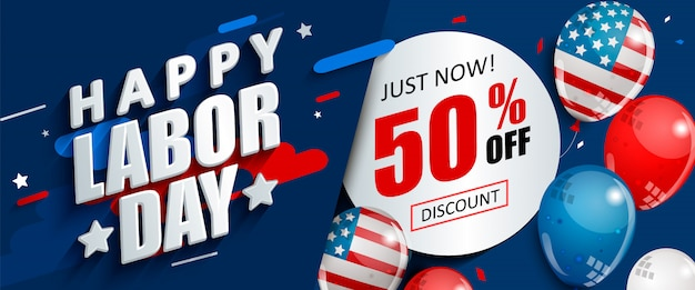 Labor day 50 % off sale promotion