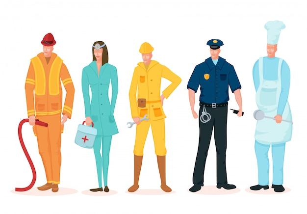 노동절. 흰색 배경에 다른 직업의 사람들의 그룹입니다.
