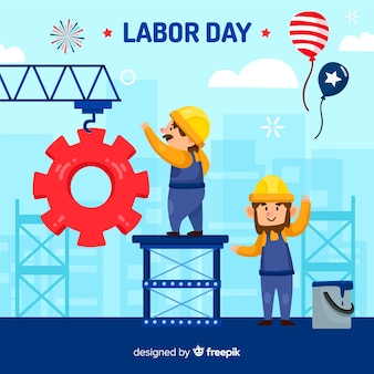 Labor day background flat design