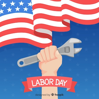Labor day background in flat style