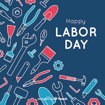 Labor day background flat style