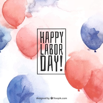 Labor day background with balloons in watercolor style