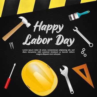 Labor day background with brush paint writing and many tools