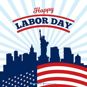 Labor day background with city and flag