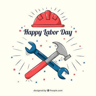 Labor day background with hand drawn tools