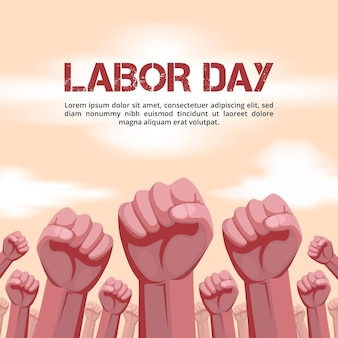 Labor day background with raised hands illustration
