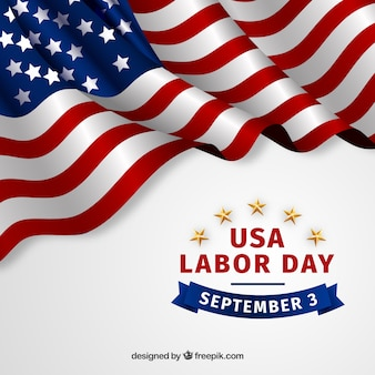 Labor day background with realistic flag