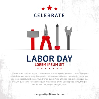 Labor day background with tools in flat style