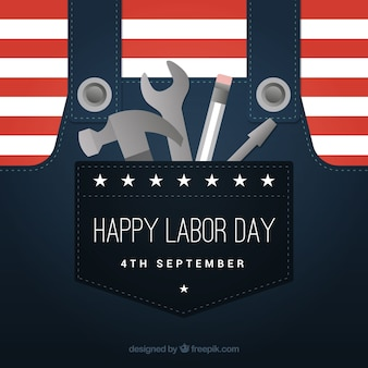 Labor day background with tools in pocket