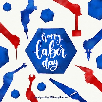 Labor day background with tools in watercolor style