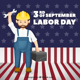 Labor day background with worker