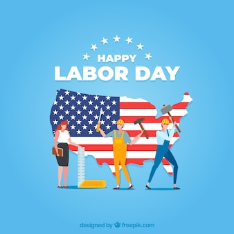 Labor day background with workers