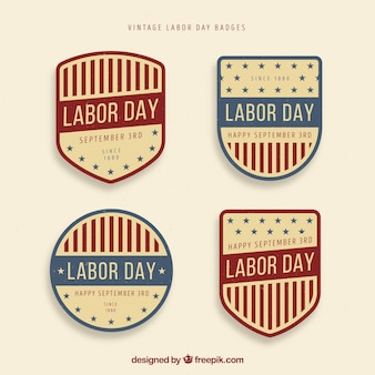 Labor day badge collection with vintage style